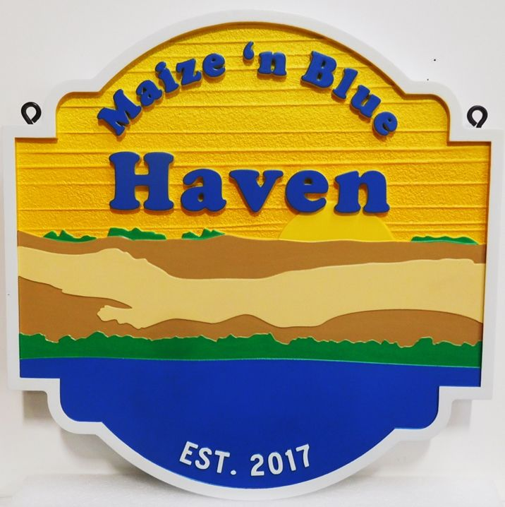 "L21228 - Carved and Sandblasted  Coastal Residence Sign ""Maize 'n Blue"", with Water, Sand Dunes, Trees, and Setting Sun as Artwork"
