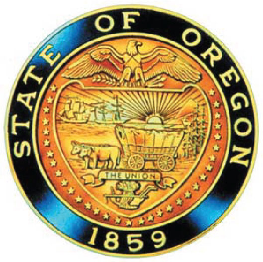W32420 - Carved 3-D Brass-Coated Seal of the State of Oregon Wall Plaque