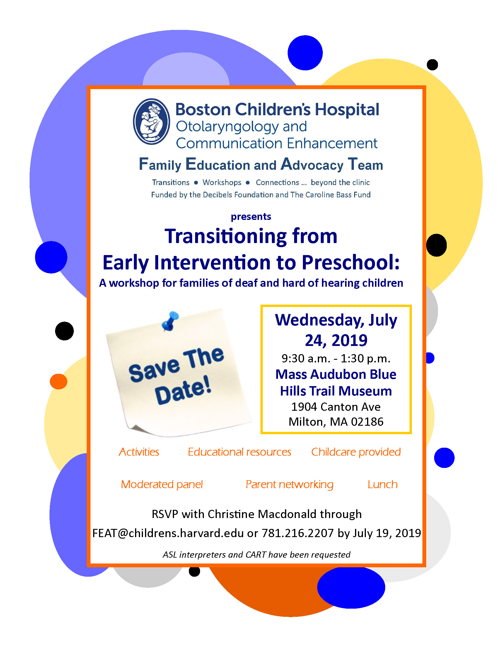 Early Intervention to Preschool Workshop