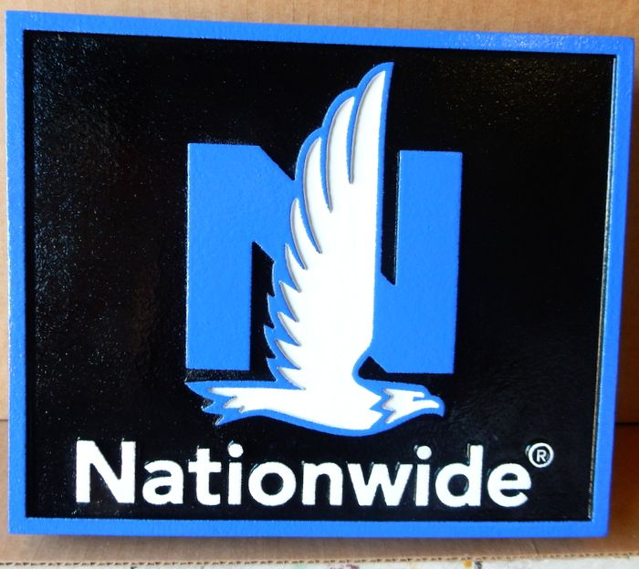 VP-1320 - Carved Wall Plaque of the Logo of Nationwide Insurance, Artist Painted