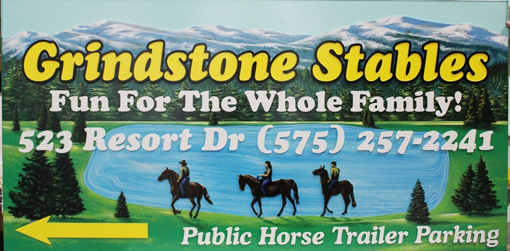 G16217 - LargeCarvedHDU Sign for  Grindstone Stables with Artist Painting of  Horseback Riders in Front of a Lake, withTrees and a Mountains
