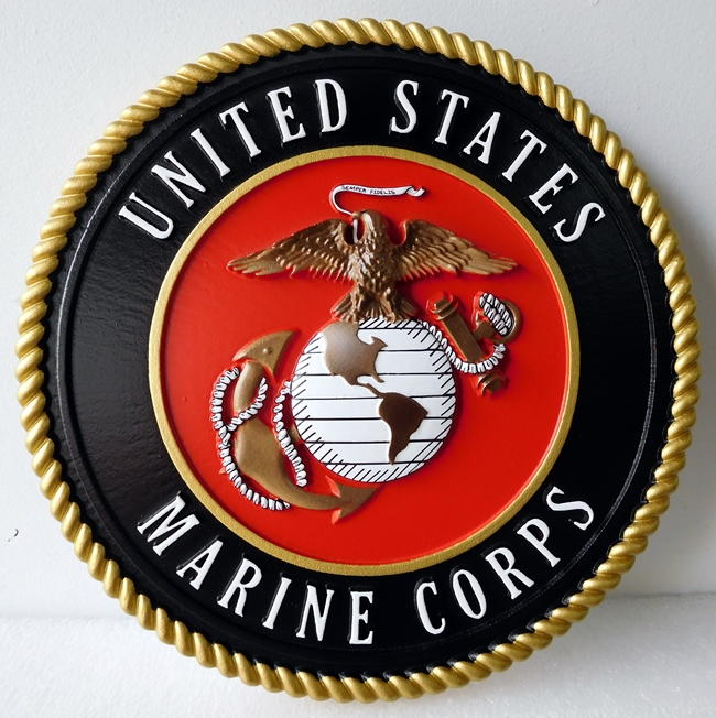 KP-1100 -  Carved Emblem of the US Marine Corps, Artist Painted