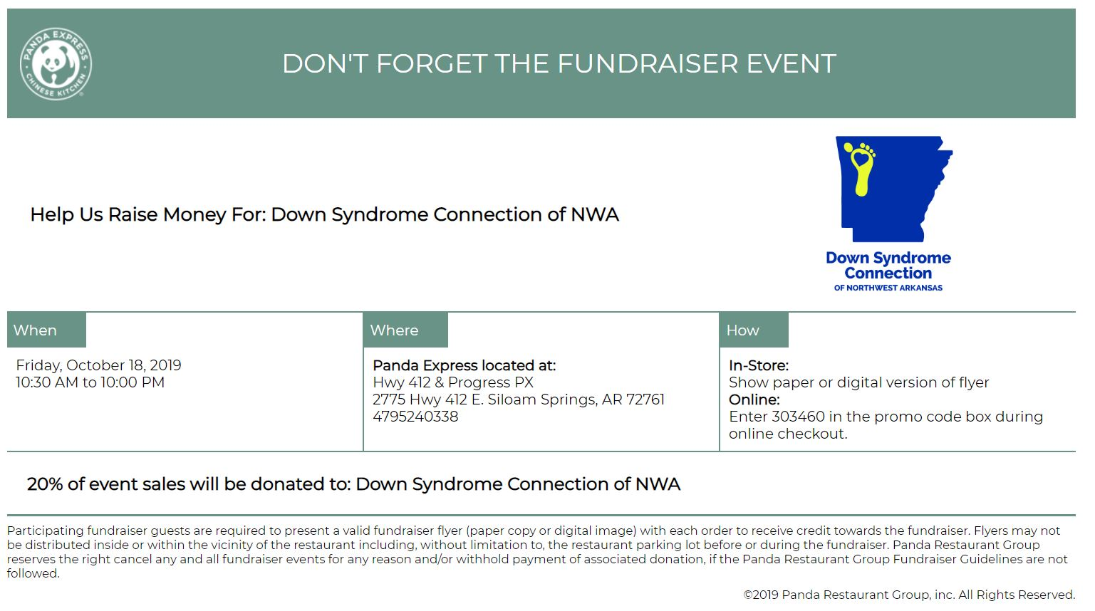 Dine Our for Down Syndrome at Panda Express in Siloam Springs