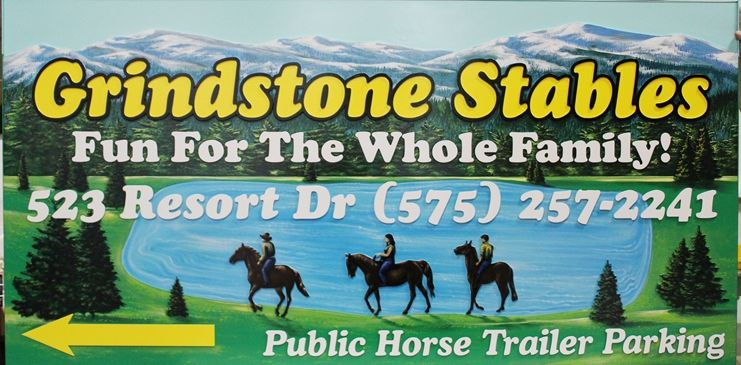 G16217 - Large Carved HDU Sign for  Grindstone Stables with Artist Painting of  Horseback Riders in Front of a Lake, with Trees and a Mountains