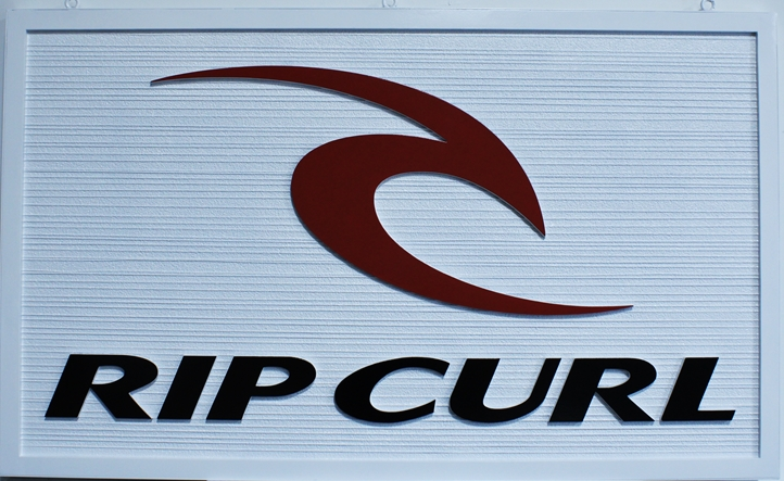 "S28138 - Carved and Sandblasted Wood Grain  Sign for the ""Rip Curl"" Company."