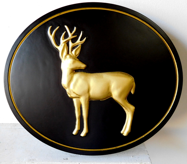M2198 - Wall Plaque with Carved Buck Deer, Gilded with 24K Gold Leaf (Galleries 21 and 22)