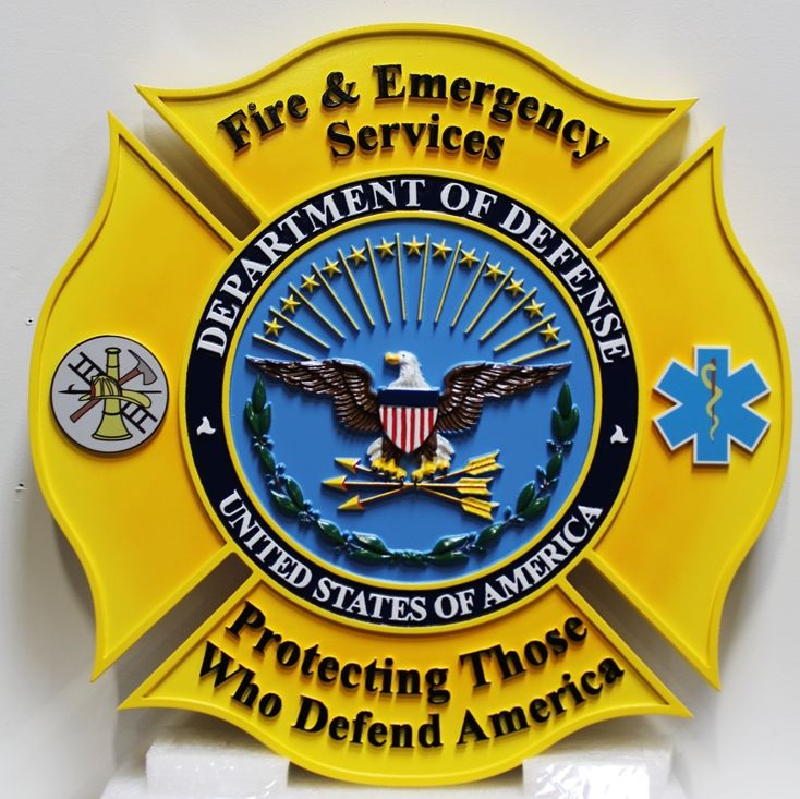IP-1979 - Carved Plaque of the Seal of the DoD Fire & Emergency Services, 3-D Artist-Painted