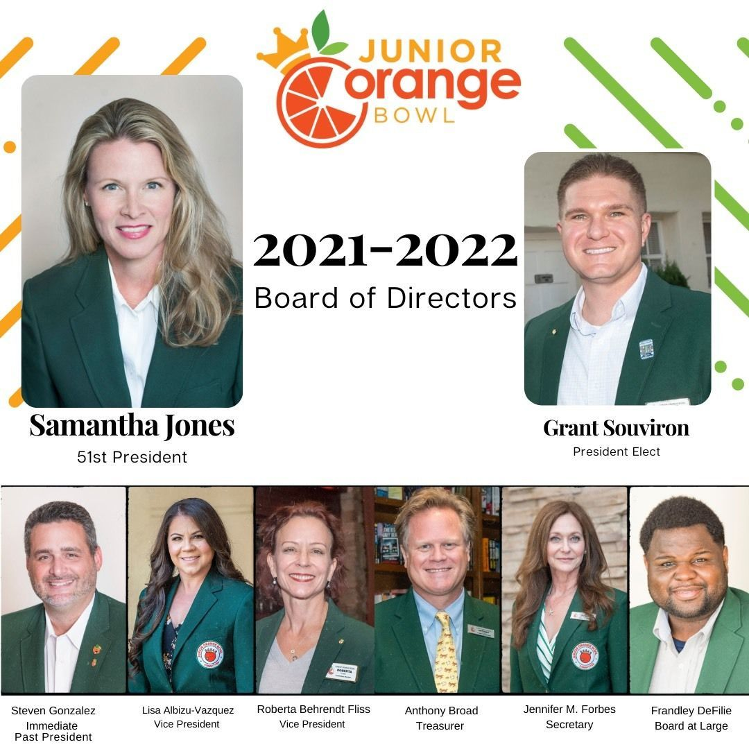 Congratulate our New President and Board for 73rd Junior Orange Bowl 2021-2022 Festival Season