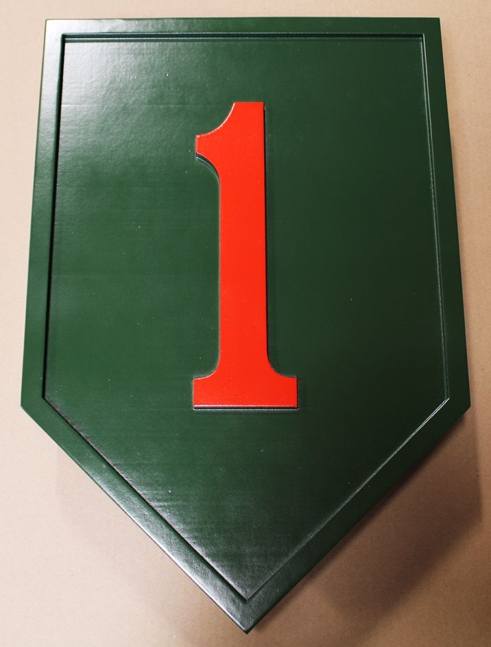 "MP-1429 - Carved Plaque of the  Insignia of the 1st  Infantry Division of the US Army, the ""Big Red One"",  Artist Painted"