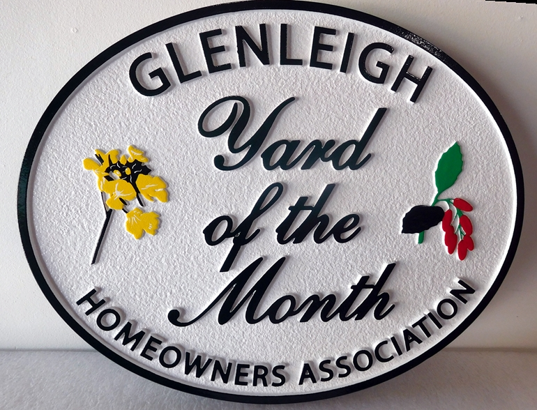 "KA20956- Carved and Sandblasted Yard-of-the-Month Sign for ""Glenleigh"" HOA"