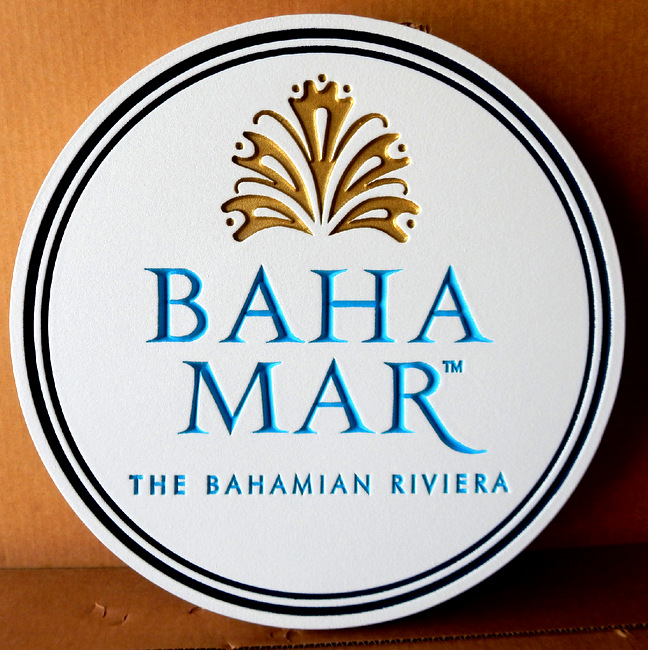 RB27120 - Elegant Round Engraved Sign for Baha Mar Bahaman Resirt