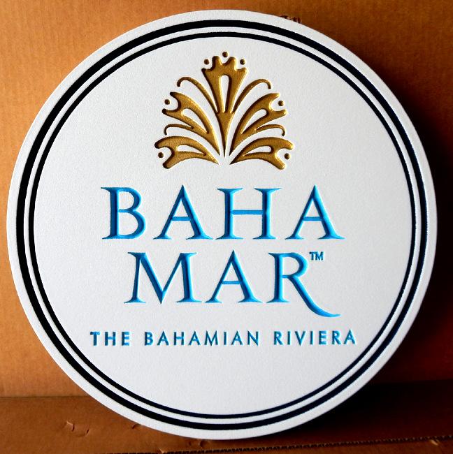 RB27120 - Elegant Round Engraved Sign for Baha Mar Bahaman Resirt