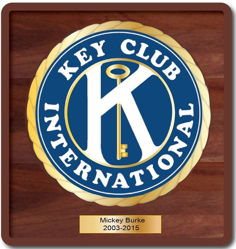 UP-1080 - Carved Wall Plaque of the Emblem of Key Club International , Brass Plated on Mahogany Wood