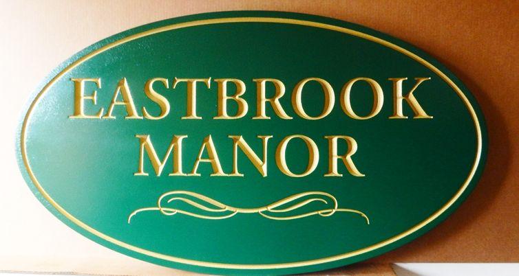 """I18130 - Property Name Sign, Engraved HDU, """"Eastbrook Manorl"""""""