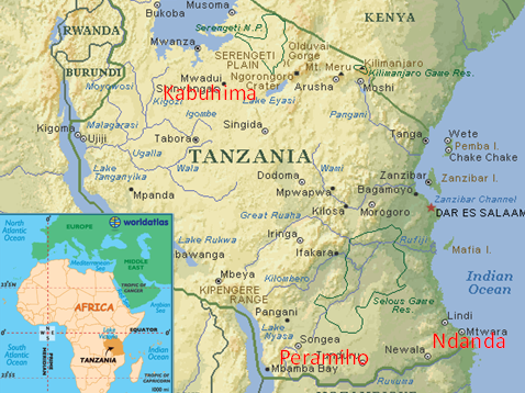 Tanzania, Ndanda Priory, Africa, map, benedictine sisters, missionaries