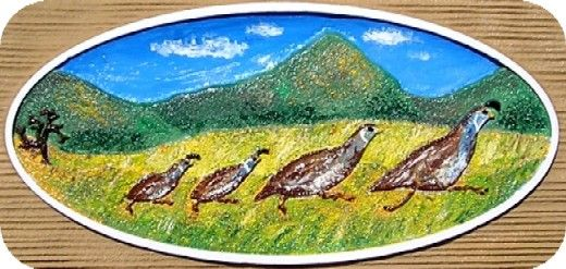 O24635 - Carved California Quail Family for Ranch Sign