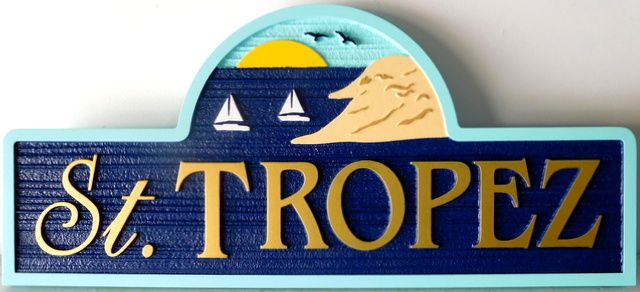 "L21310 - Carved & Sandblasted Sign for a Coastal  Residence "" St. Tropez"", with Scene of Sailboats Near Mountain."