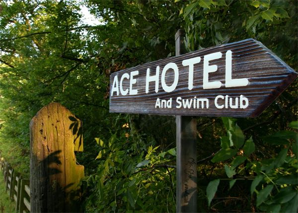 "T29110 - Carved  and Sandblasted Rustic Wood  Sign for the """"Ace Hotel and Swim Club"""